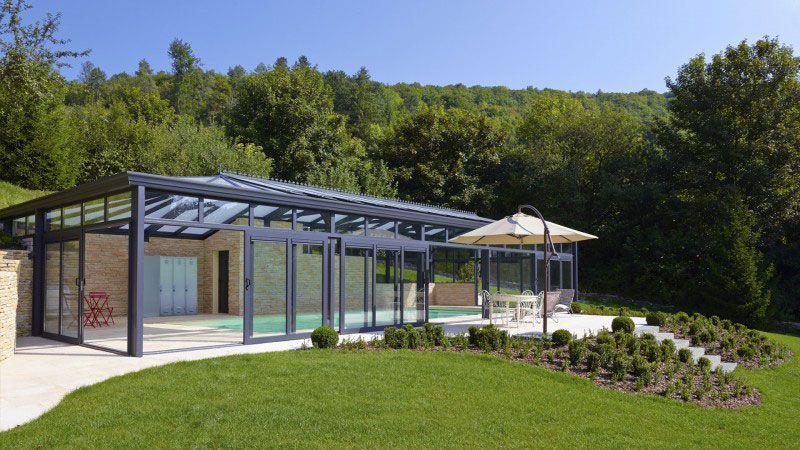 Serre pour la piscine piscine avec terrasse en pierre reconstituee Abris de piscine Sable