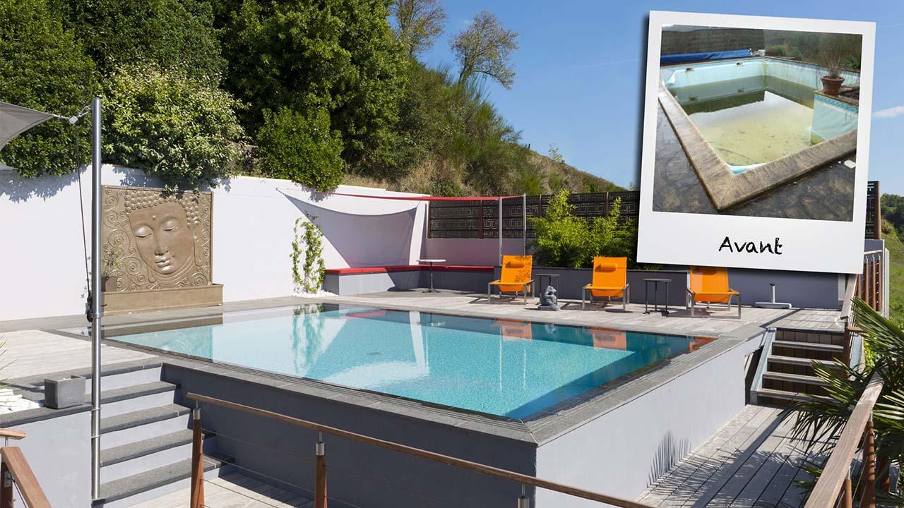 Réinvestir l'endroit renovation piscine avant apres Rénovation de piscines Gris clair