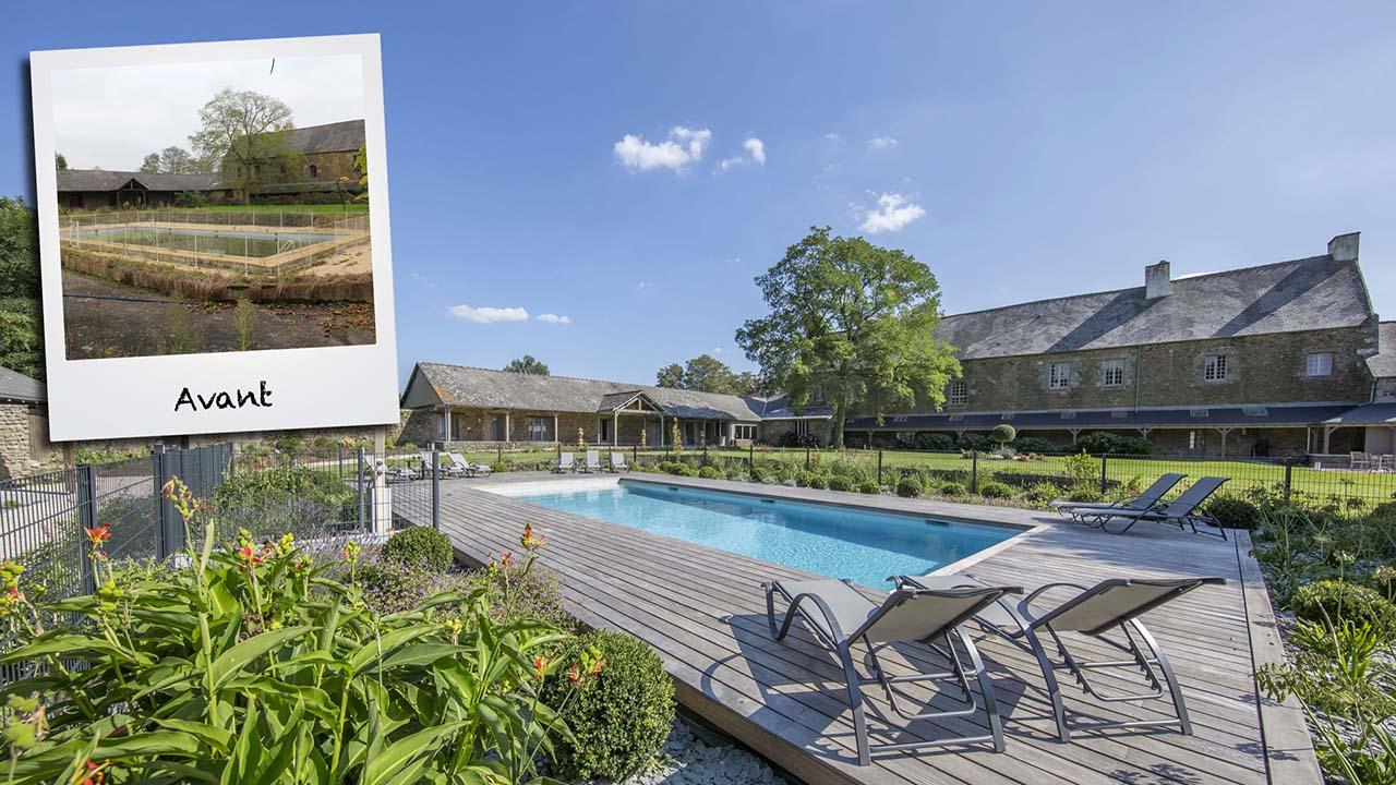 Trophée d'Argent 2015 de la rénovation renover une piscine dans une maison de vacances Rénovation de piscines Gris clair