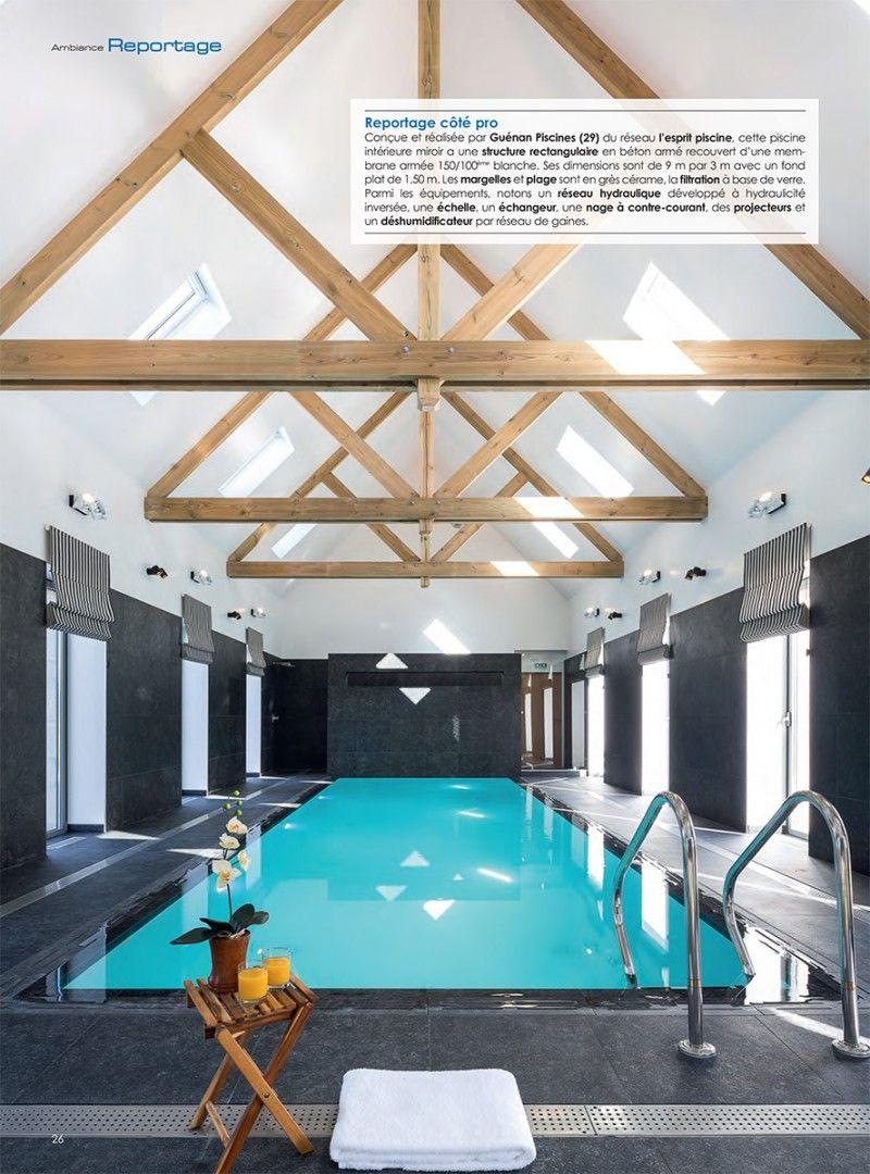 Focus sur une piscine intérieure miroir ambiance piscine guenan