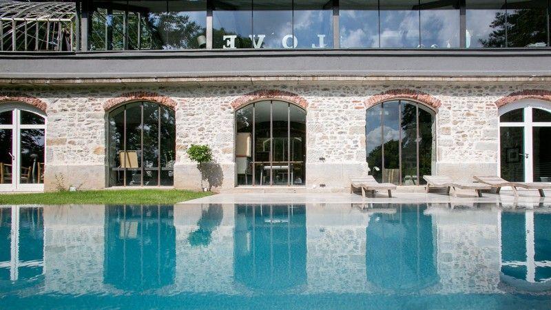 Reflets d'élégance belle piscine miroir Piscine miroir minéral Gris anthracite