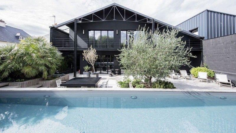 Mariage du bois et du bleu design couloir de nage Couloir de nage Gris anthracite