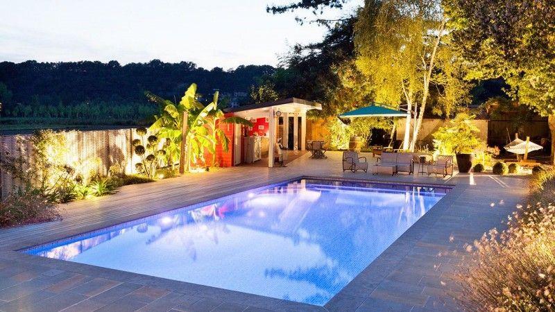 Baignade nocturne eclairage pour piscine Piscine paysagée Gris clair