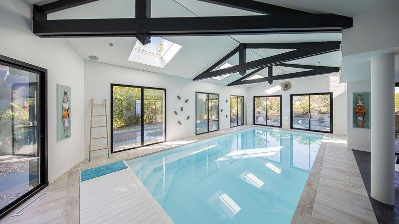 Nager en toutes saisons piscine avec liner blanc Piscine intérieure Gris clair