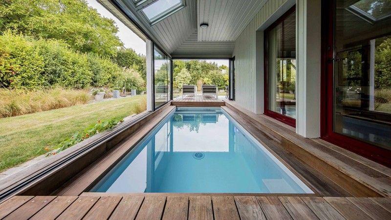 Piscine avec terrasse mobile Gris clair
