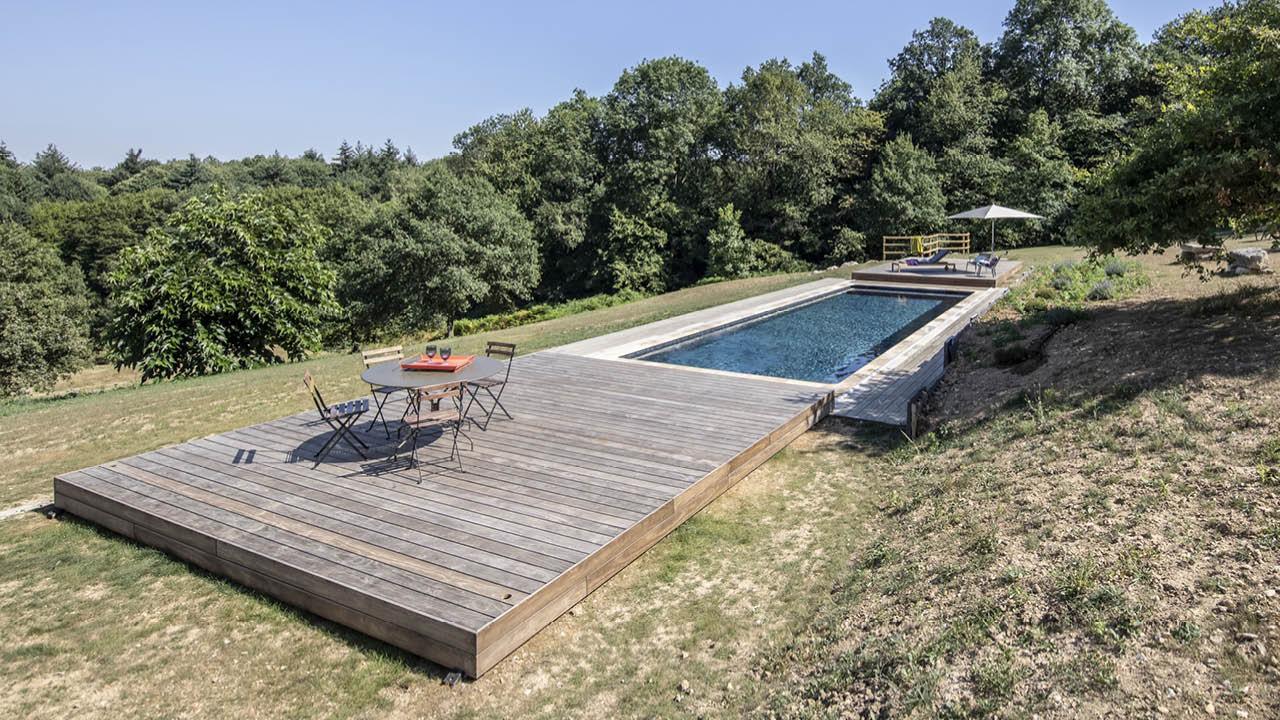 Au-delà des apparences terrasse mobile piscine campagne ouverte Piscine avec terrasse mobile 3D Gris ardoise