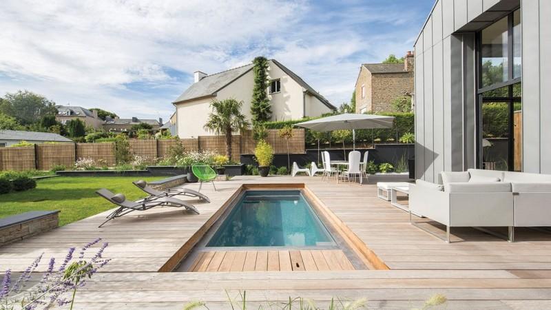 Piscine avec terrasse mobile Gris anthracite
