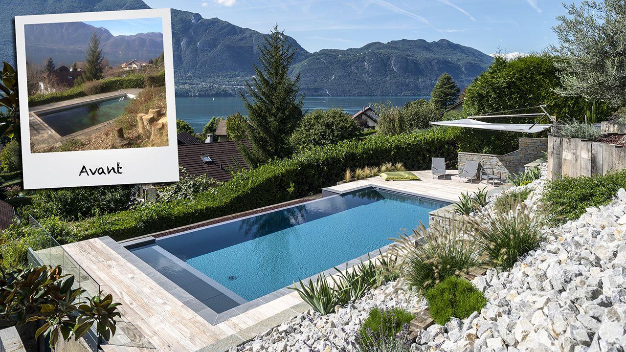Rénovation de piscine : avant / après construire debordement piscine1 Rénovation de piscines Gris anthracite