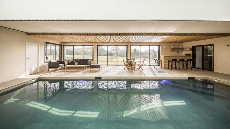 Plongeon de bien-être habillage mur piscine interieure Ligne d'eau minérale Piscine intérieure 3D Gris béton