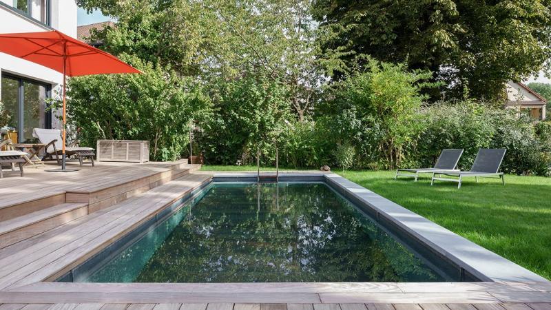 Bassin en alternance mini piscine terrasse Piscine à fond mobile 3D Gris béton