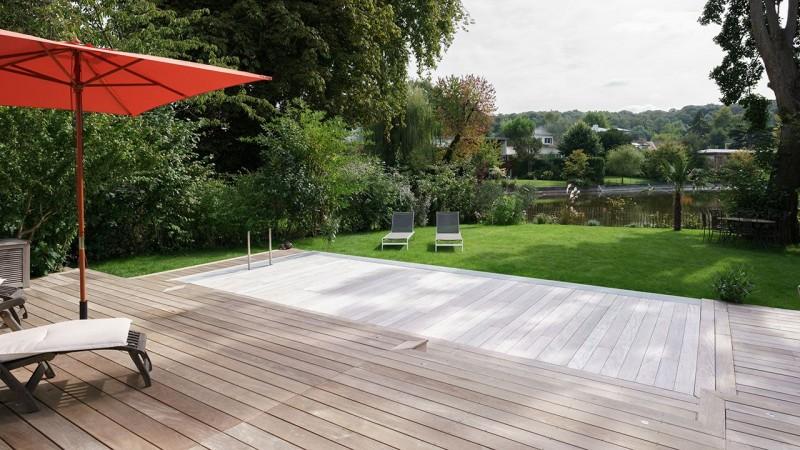 Bassin en alternance petite piscine pour petit jardin Piscine à fond mobile 3D Gris béton