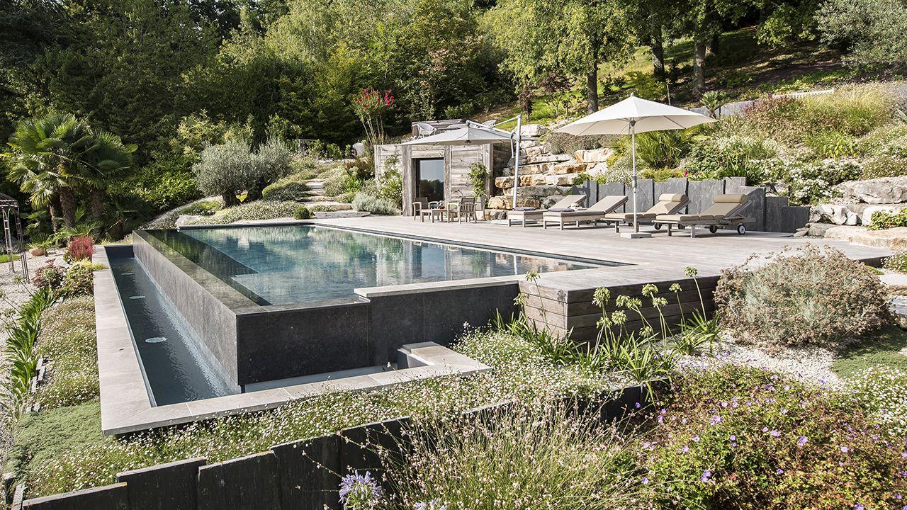 Bain en hauteur piscine debordement principe Piscine à débordement Piscine paysagée 3D Gris ardoise