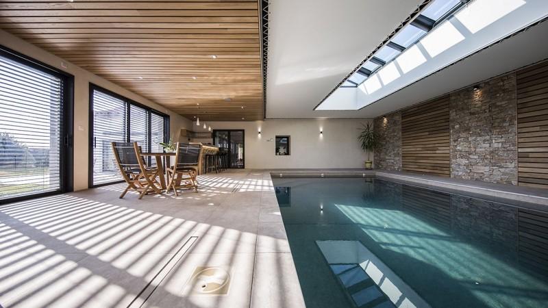 Plongeon de bien-être piscine haut de gamme luxe interieure Ligne d'eau minérale Piscine intérieure 3D Gris béton