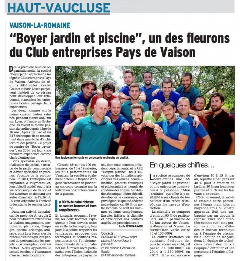 Boyer jardin et piscine, un des fleurons du Club entreprises Pays de Vaison
