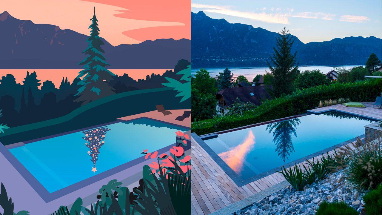 Excellente année 2019 A voeux illustration piscine