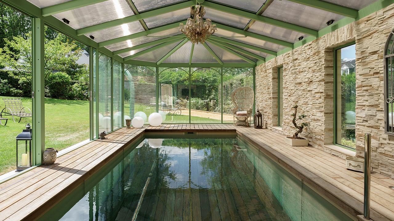 Baignade bucolique abri de piscine adossé Piscine à fond mobile Abris de piscine 3D Sable
