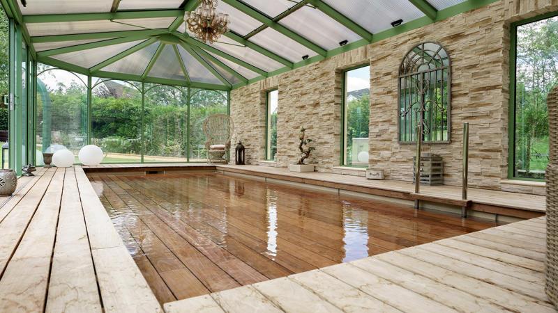 Baignade bucolique abri de piscine haut adossé Piscine à fond mobile Abris de piscine 3D Sable
