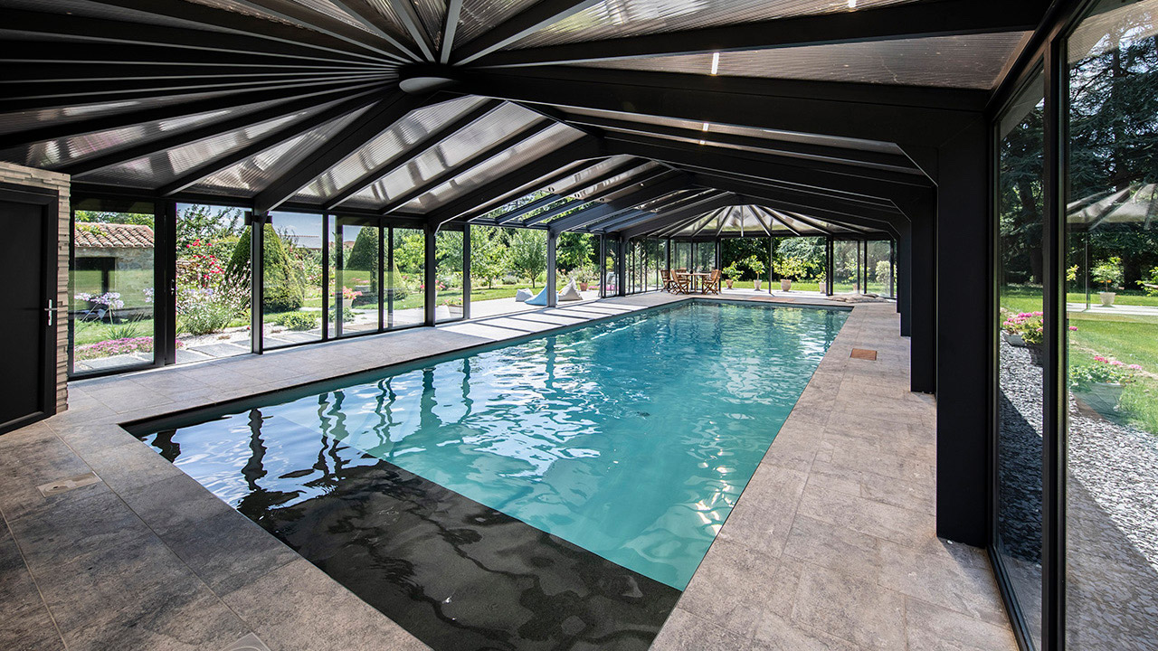 Bulle de détente éternelle abri de piscine haut mur Abris de piscine Gris clair