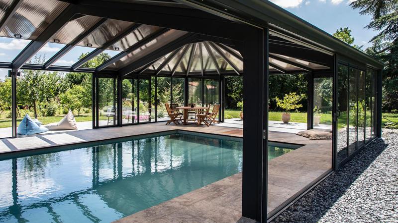 Bulle de détente éternelle abri piscine haut angulaire Abris de piscine Gris clair