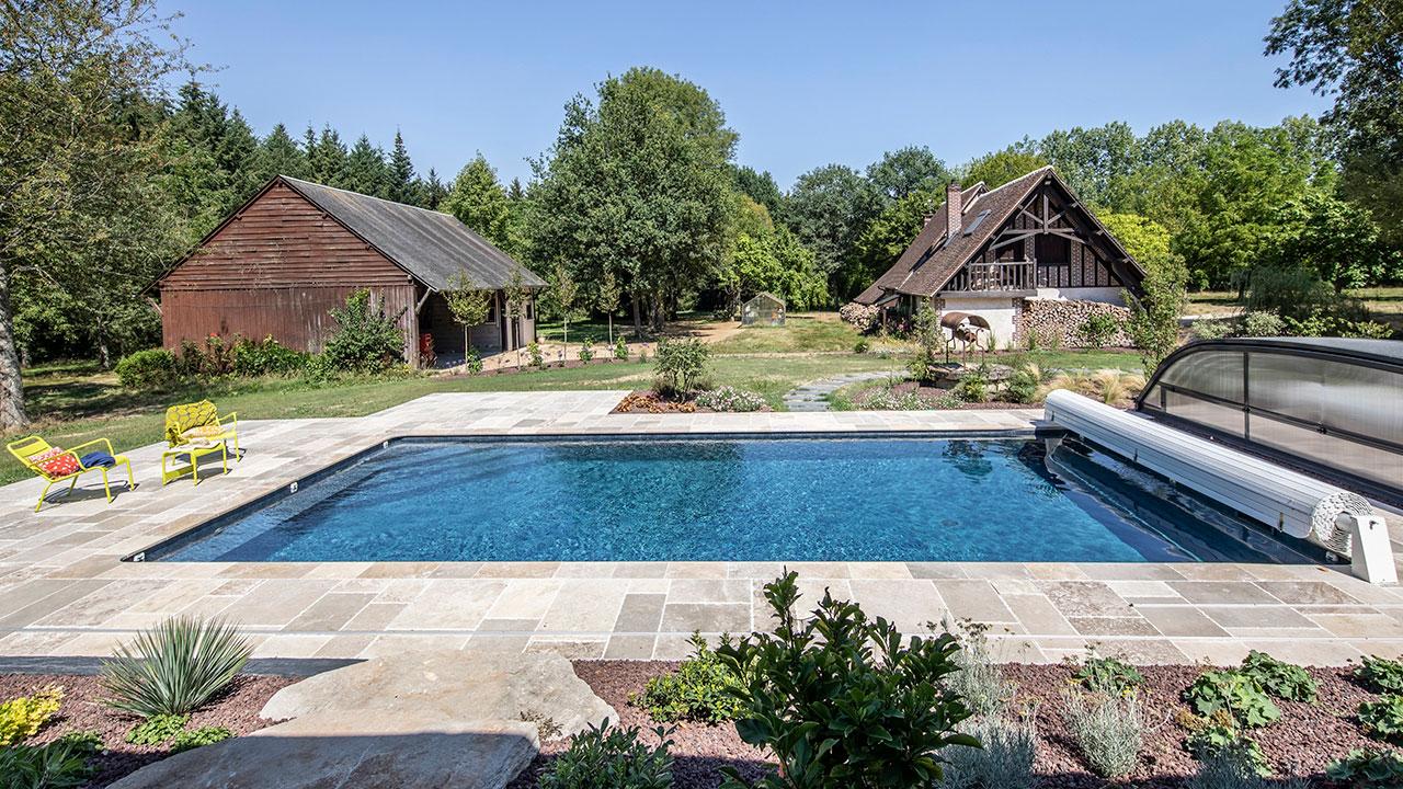 Puits d'eau apaisant amenagement piscine Piscine paysagée 3D Gris ardoise
