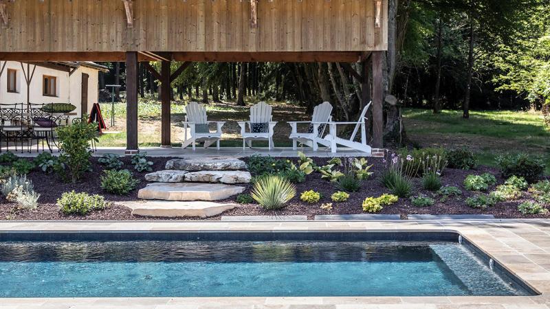 Puits d'eau apaisant amenagement plage piscine Piscine paysagée 3D Gris ardoise