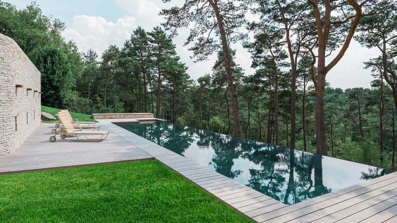 Nager vers la forêt aqualift bouger piscine Piscine à débordement Piscine à fond mobile 3D Gris béton