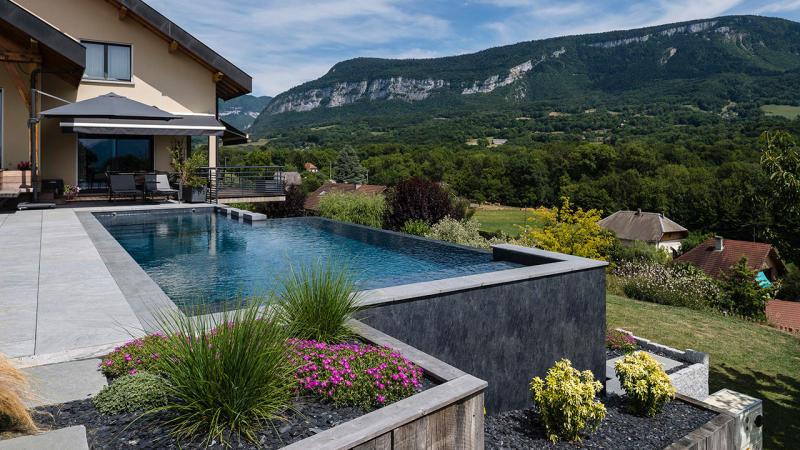 Bain en altitude bassin de piscine a debordement Piscine à débordement 3D Gris ardoise
