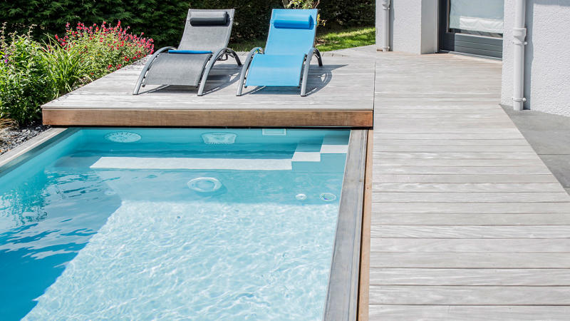 La piscine mystère mini piscine 10m2 Piscine avec terrasse mobile