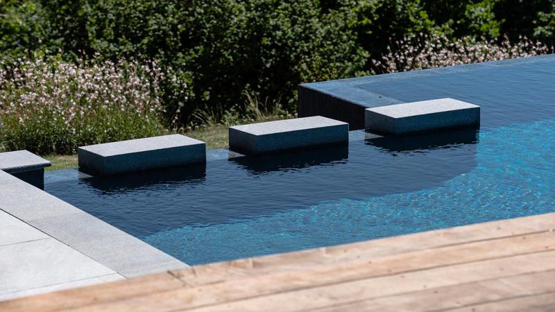 Bain en altitude montagne avec piscine privee Piscine à débordement 3D Gris ardoise