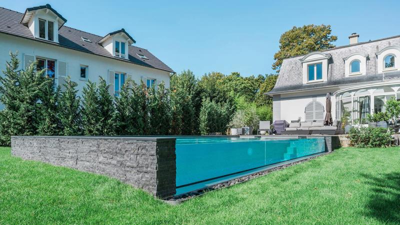 Bassin de cristal paroi en verre pour piscine Piscine à paroi vitrée 3D Gris béton