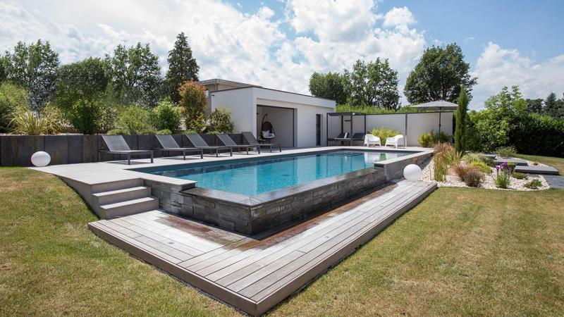 Bassin de décompression piscine a debordement design Piscine à débordement Gris anthracite