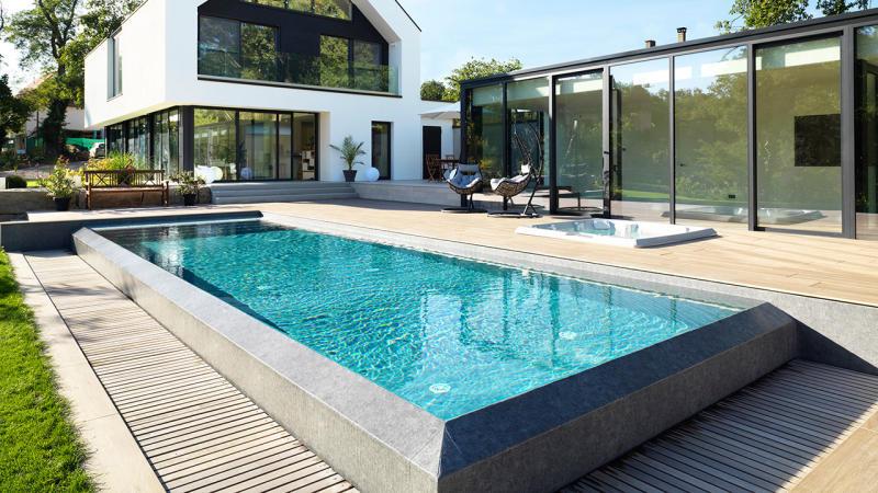 Baignade reposante piscine a debordement fonctionnement Piscine à débordement 3D Gris béton