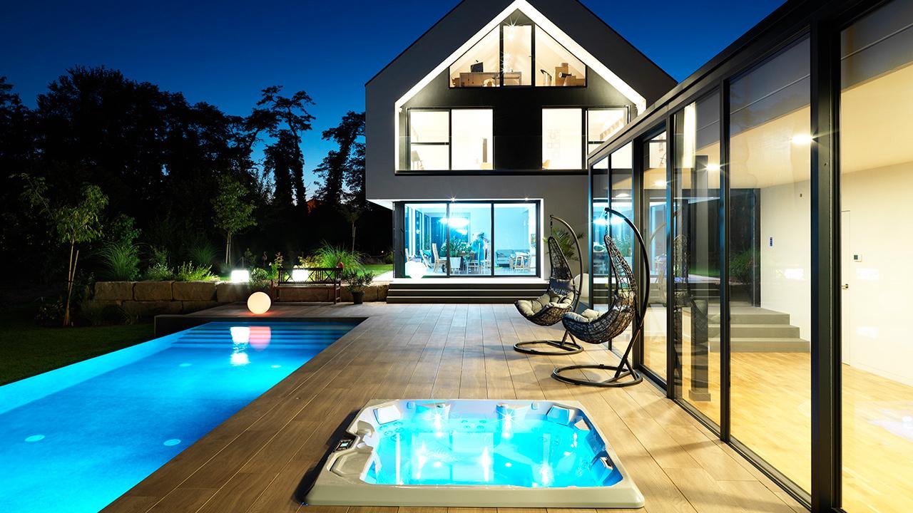Baignade reposante piscine debordement terrasse Piscine à débordement 3D Gris béton