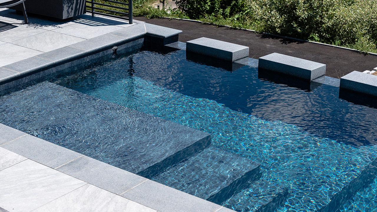 Bain en altitude piscine exterieure a debordement Piscine à débordement 3D Gris ardoise