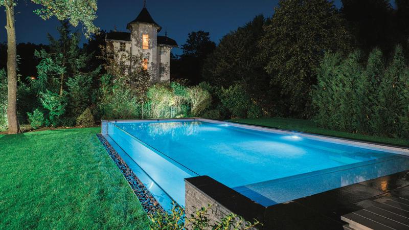 Bassin de cristal piscine hors sol en verre Piscine à paroi vitrée 3D Gris béton