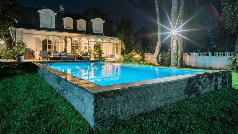 Bassin de cristal piscine moderne et design Piscine à paroi vitrée 3D Gris béton
