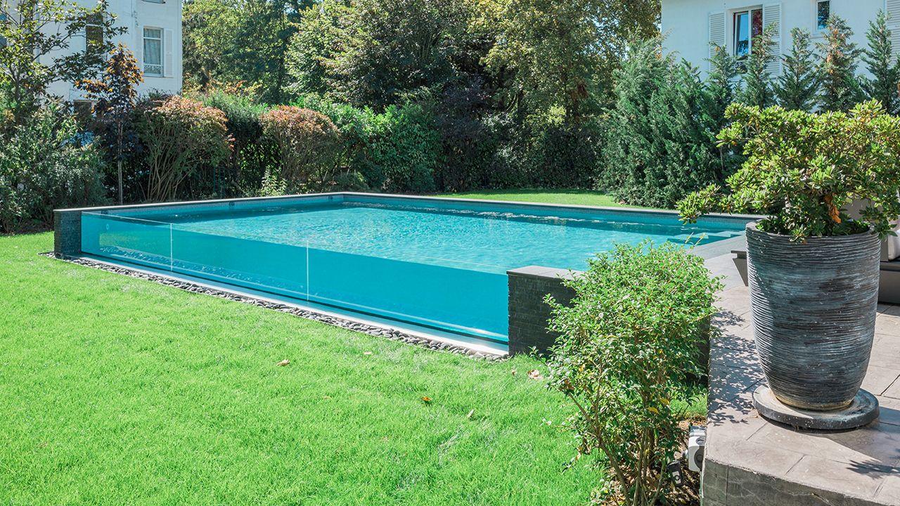 Bassin de cristal piscine paroi verre Piscine à paroi vitrée 3D Gris béton