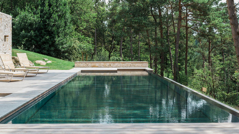 Nager vers la forêt piscine sol monte Piscine à débordement Piscine à fond mobile 3D Gris béton