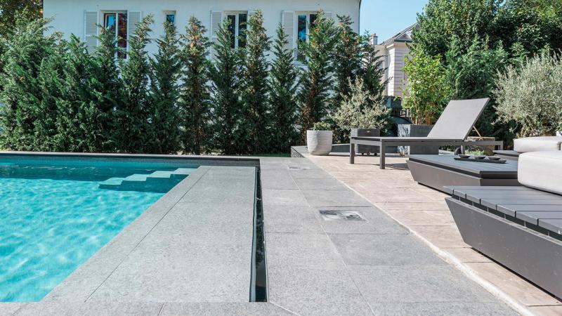 Bassin de cristal piscine transparente Piscine à paroi vitrée 3D Gris béton