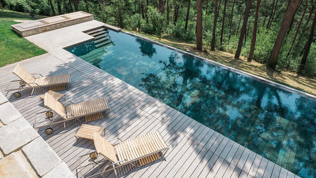 Nager vers la forêt plancher piscine Piscine à débordement Piscine à fond mobile 3D Gris béton