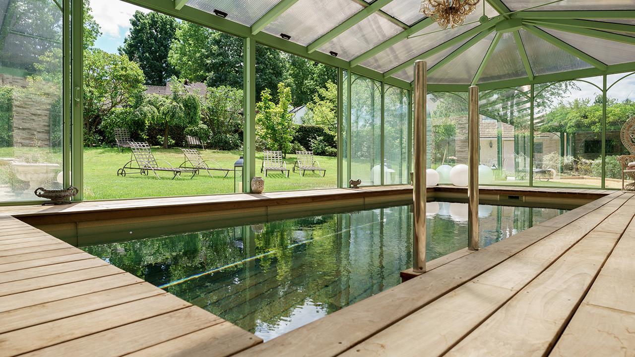 Baignade bucolique surelever fond piscine Piscine à fond mobile Abris de piscine 3D Sable