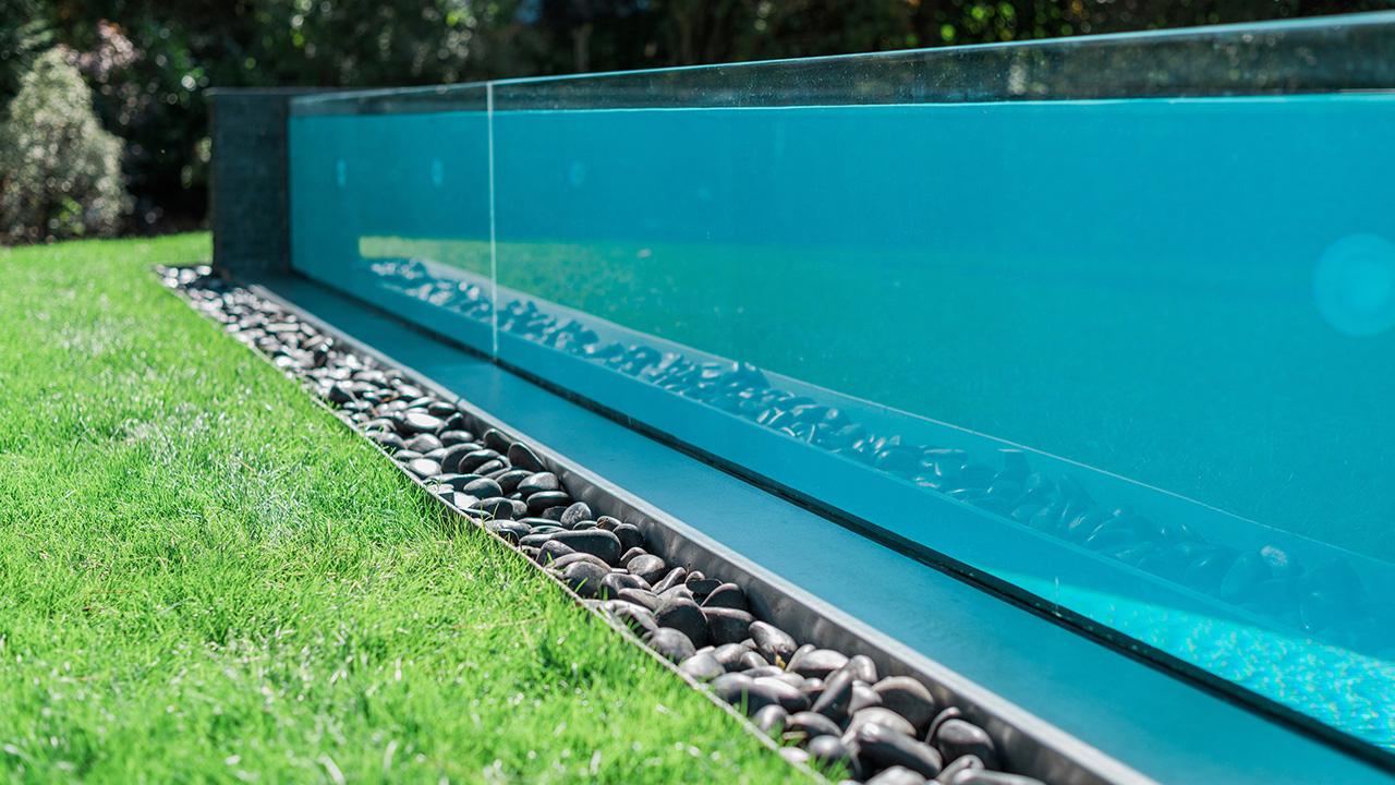 Bassin de cristal vitre pour piscine Piscine à paroi vitrée 3D Gris béton