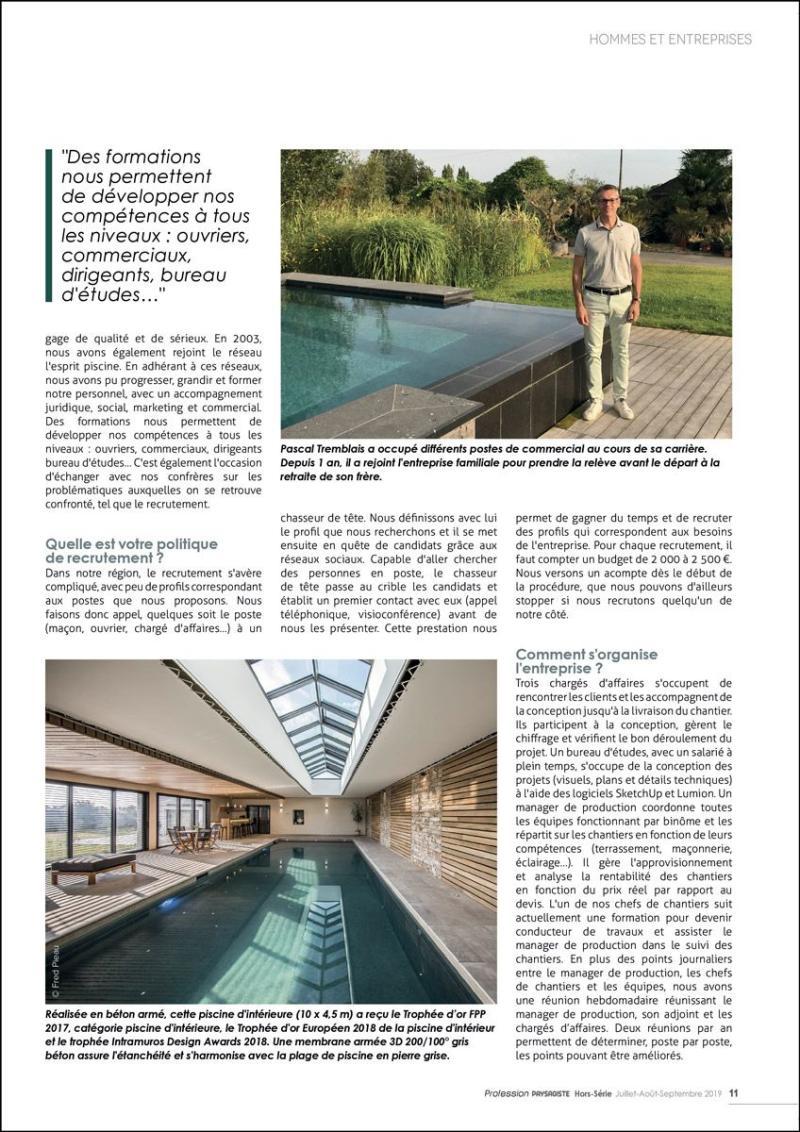 Tremblais Créateur : la maîtrise globale du chantier couverture magazine profession paysagiste sur la maitrise du chantier tremblais createur