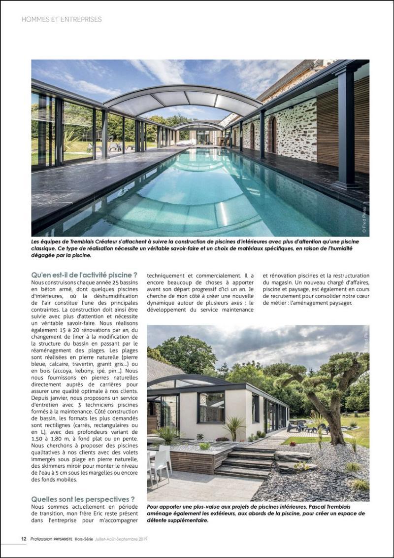 Tremblais Créateur : la maîtrise globale du chantier extrait magazine tremblais createur la maitrise d un chantier de piscine
