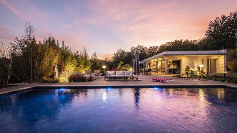La beauté des détails piscine beton paysagee eau eclairee nuit Piscine paysagée 3D Gris ardoise