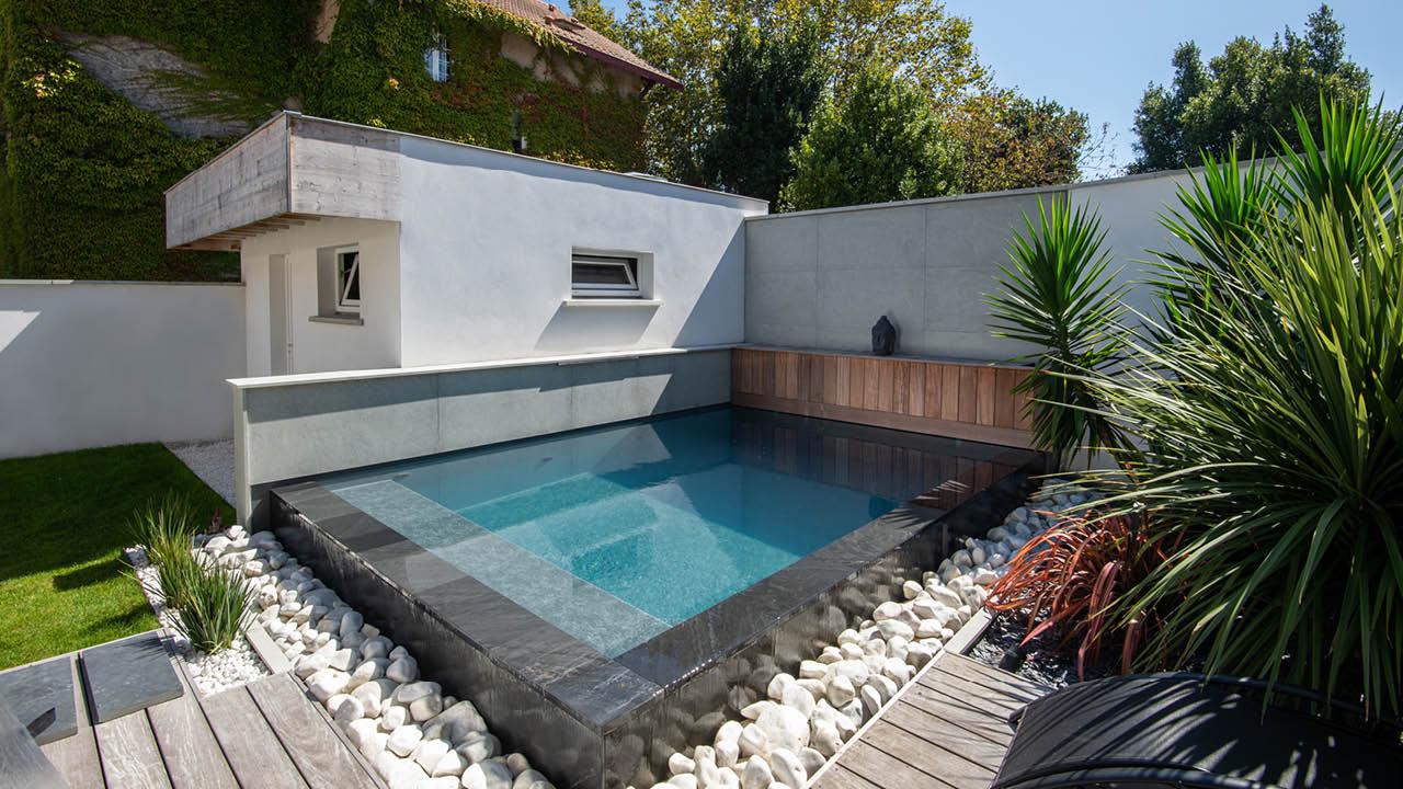 Carré d'eau urbain piscine deco citadine eau débordement Piscine citadine 3D Gris ardoise