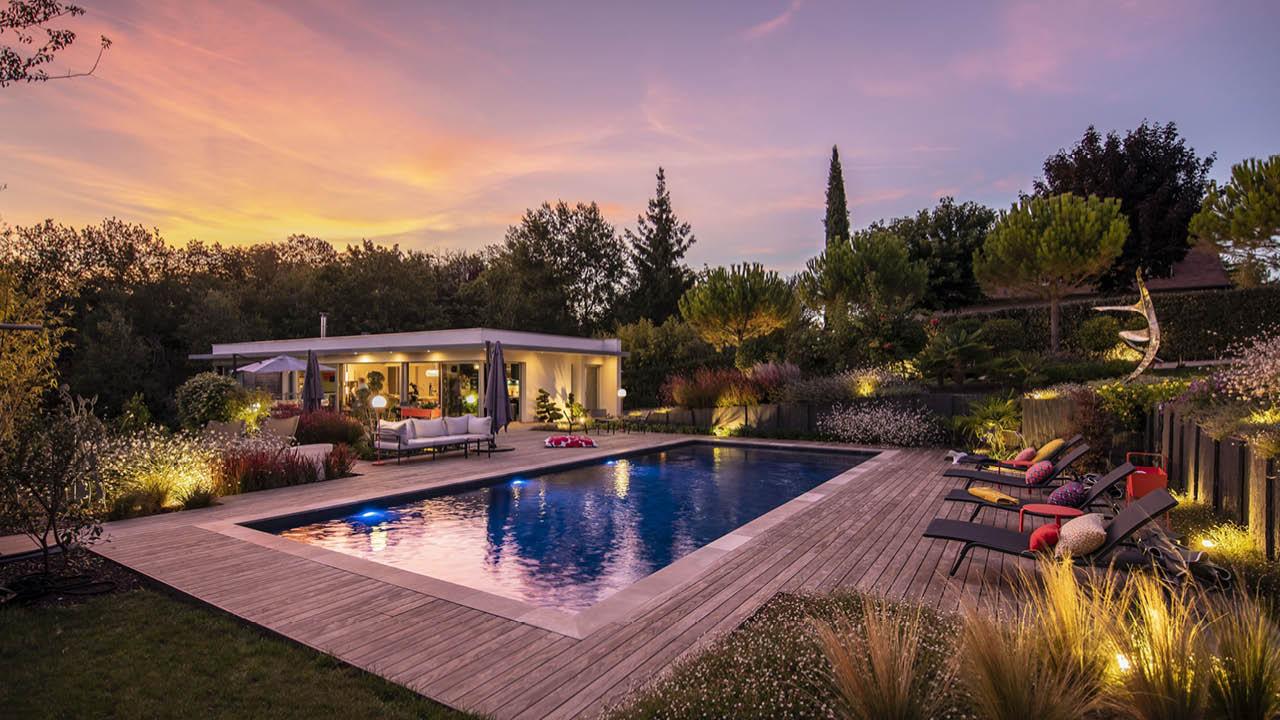 La beauté des détails vegetation piscine deco nuit Piscine paysagée 3D Gris ardoise