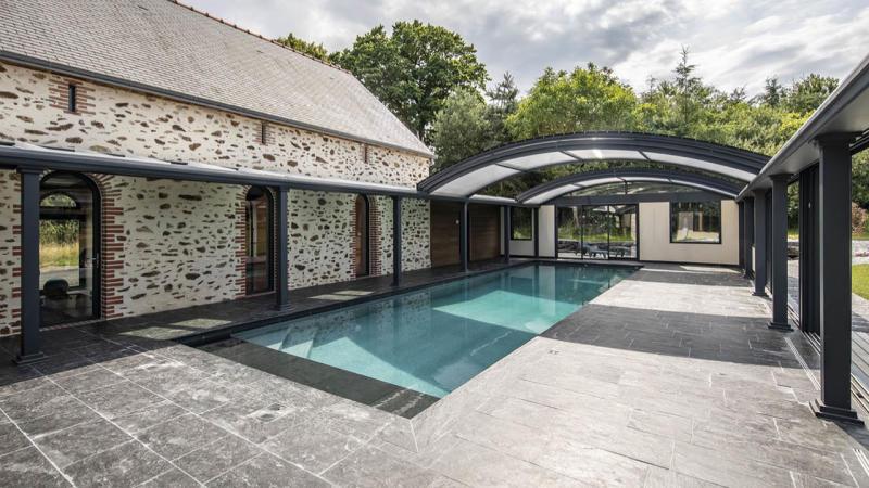 Profiter par tous les temps abri piscine toit ouvert Ligne d'eau minérale Abris de piscine 3D Gris ardoise