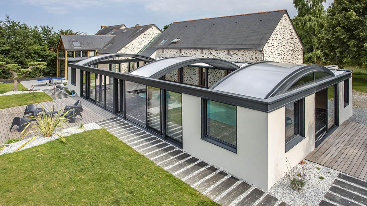Profiter par tous les temps abri piscine toit ouvrant Ligne d'eau minérale Abris de piscine 3D Gris ardoise