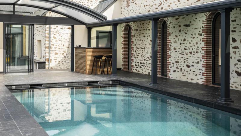 Profiter par tous les temps ligne eau mineral ardoise noire Ligne d'eau minérale Abris de piscine 3D Gris ardoise